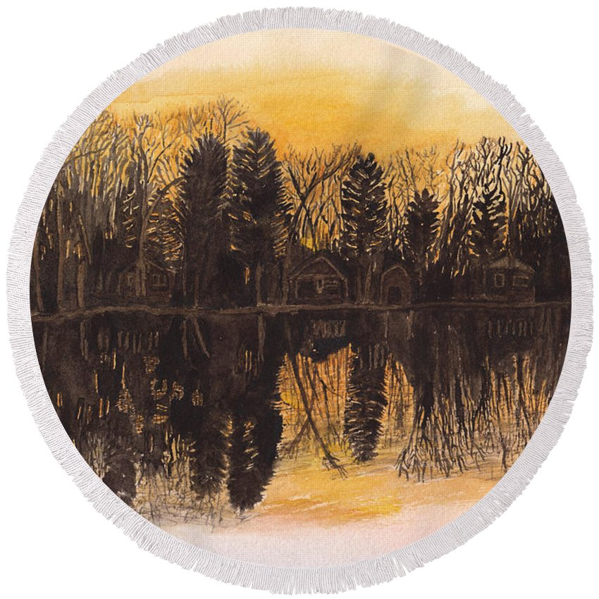 Landscape Round Beach Towel featuring the painting Reflections At Sunset On Bitely Lake by Conni Schaftenaar