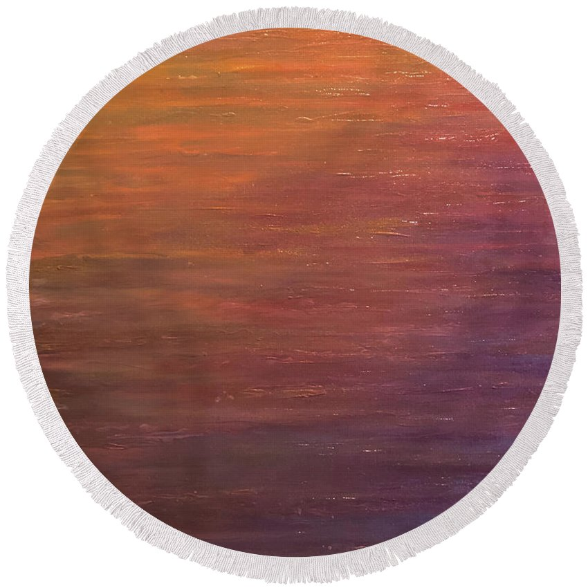 Landscape Round Beach Towel featuring the painting Reflections by Bryan Horn