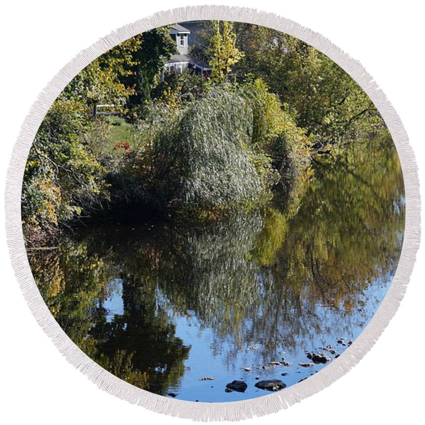 Water Round Beach Towel featuring the photograph Reflections by Don Gilbert
