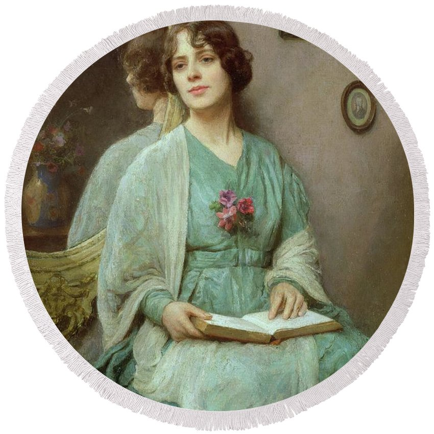 Reflections (oil On Canvas) By Ethel Porter Bailey (fl.1908-27) Round Beach Towel featuring the painting Reflections by Ethel Porter Bailey