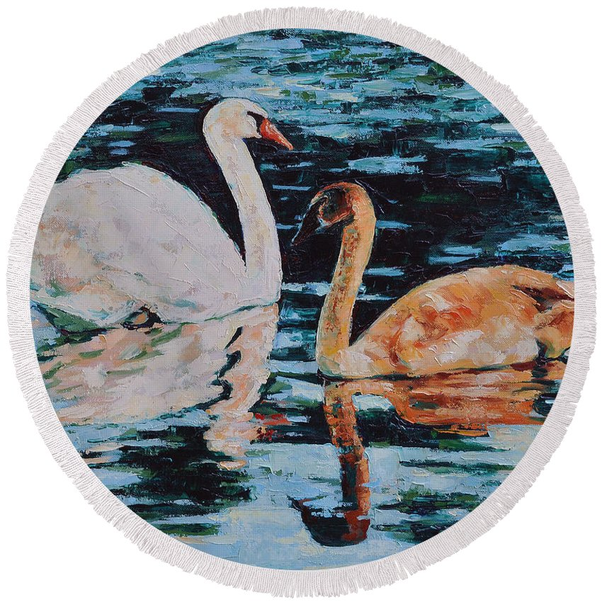 Blue Round Beach Towel featuring the painting Reflections by Iliyan Bozhanov