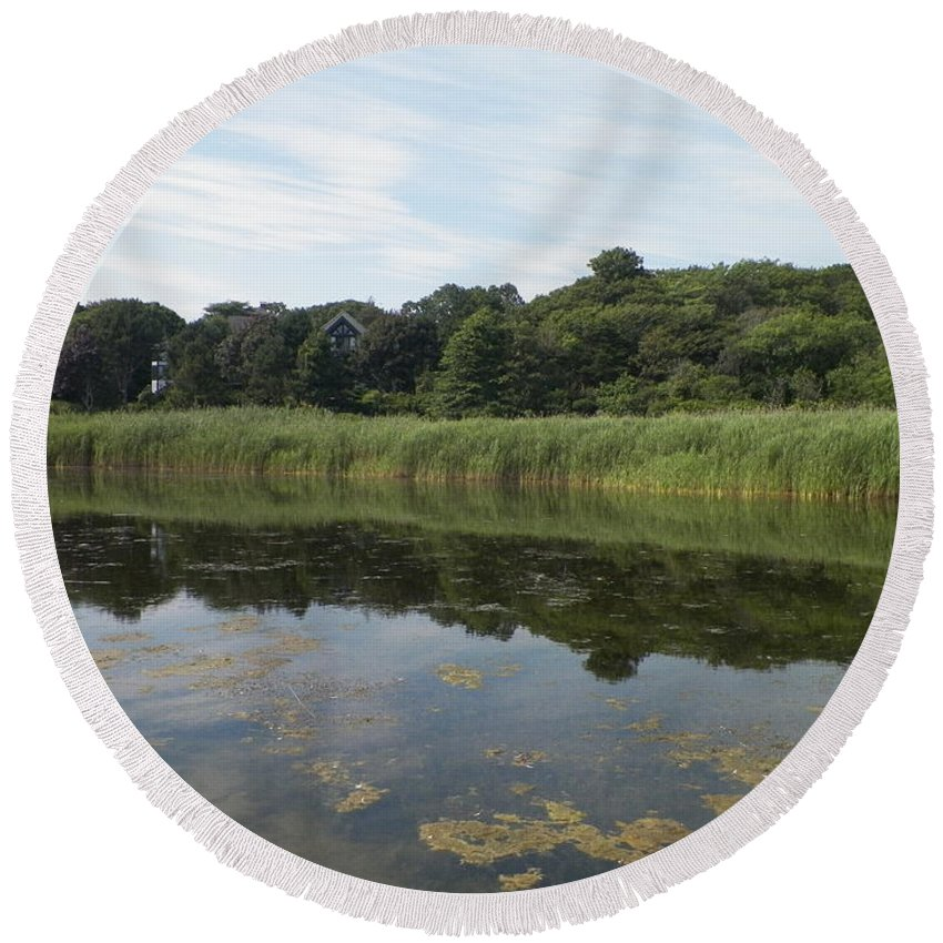 Rockport Round Beach Towel featuring the photograph Reflections In The Marsh by Gina Sullivan