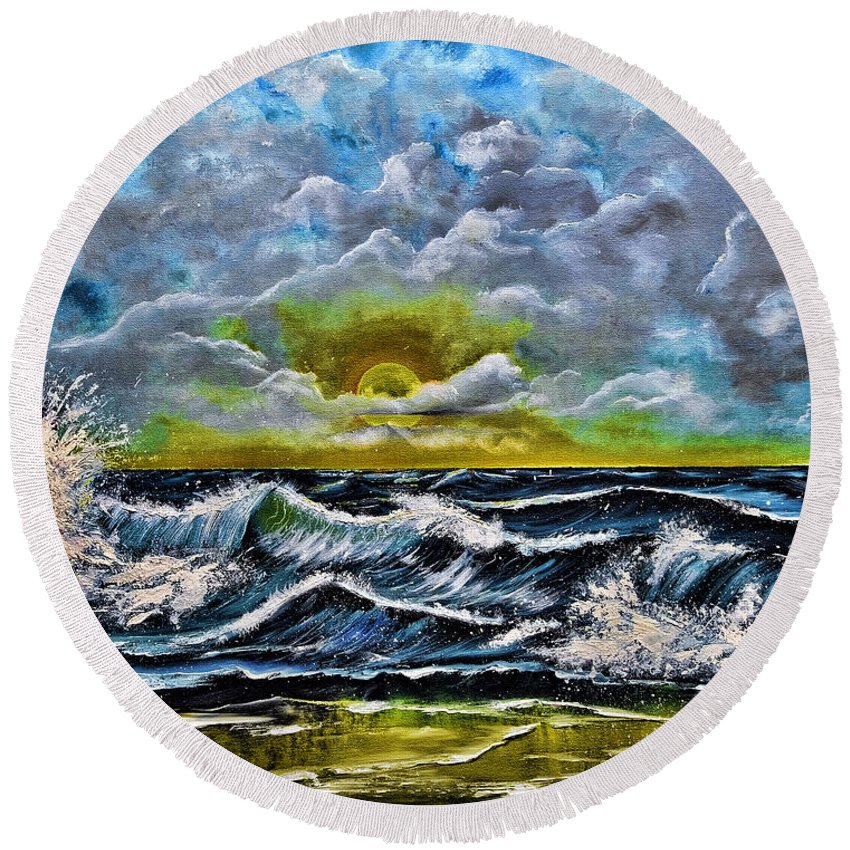 Seascape Round Beach Towel featuring the painting Reflections In The Sand by Renita Confer
