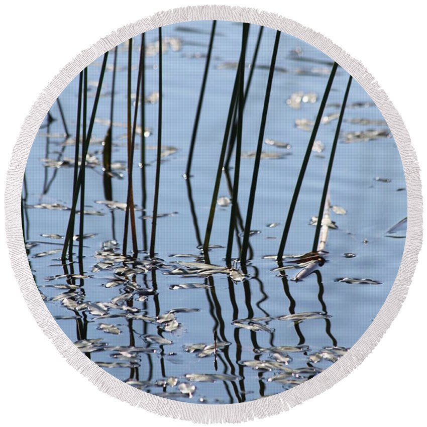 Pond Round Beach Towel featuring the photograph Reflections by Lauri Novak