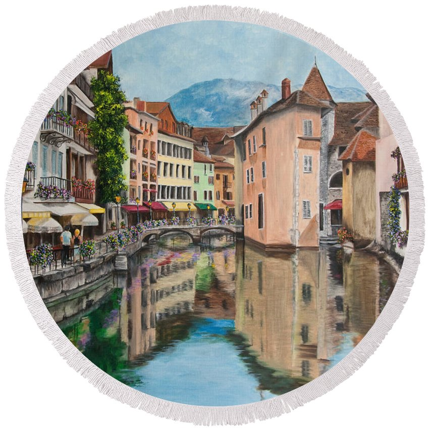 Annecy France Art Round Beach Towel featuring the painting Reflections Of Annecy by Charlotte Blanchard