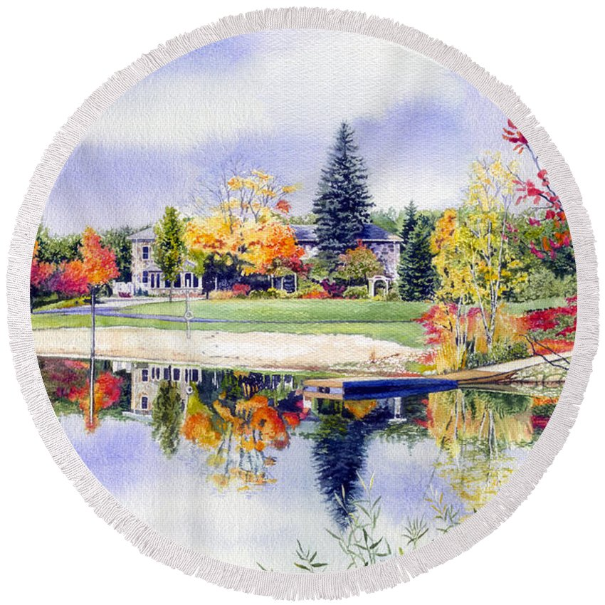 House Portrait Round Beach Towel featuring the painting Reflections Of Home by Hanne Lore Koehler