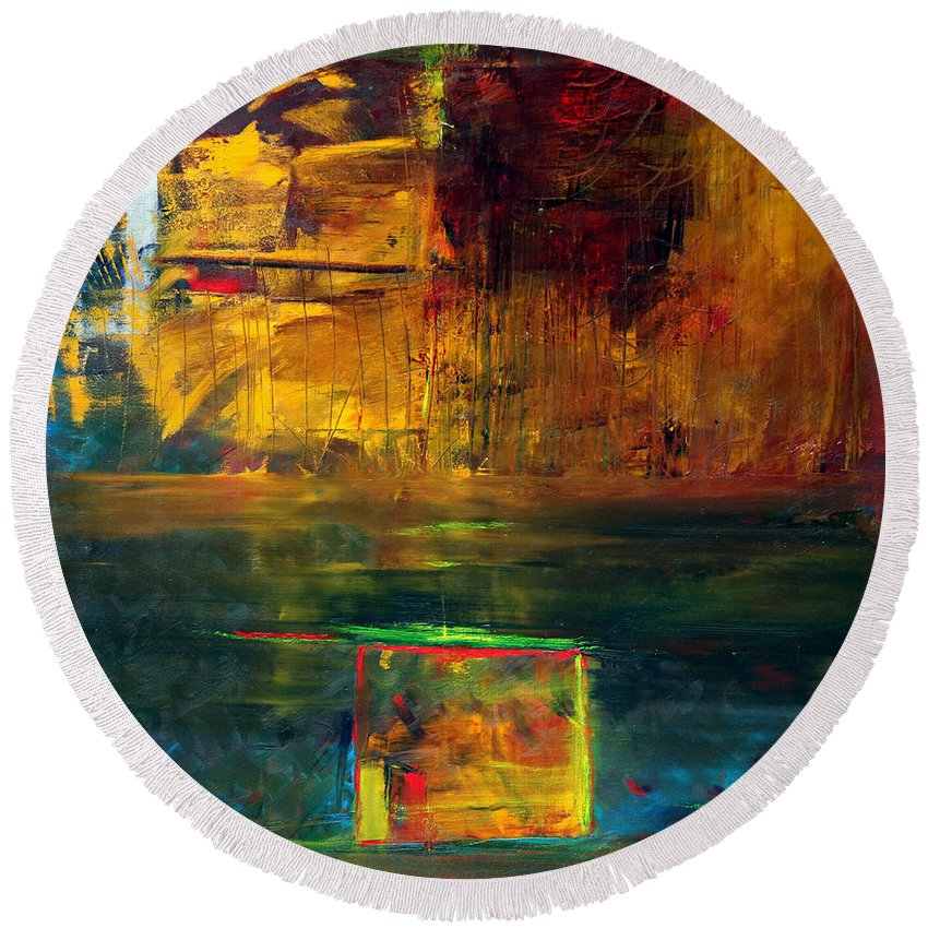 New York City Reflection Red Yellow Blue Green Round Beach Towel featuring the painting Reflections Of New York by Jack Diamond