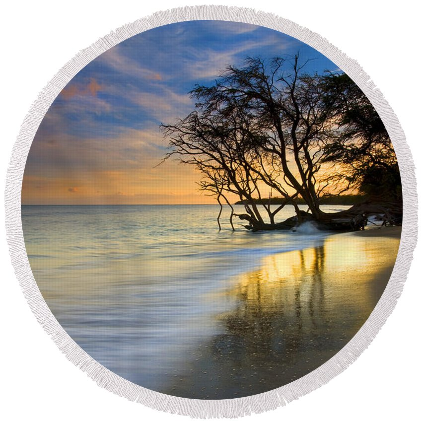 Waves Round Beach Towel featuring the photograph Reflections Of Paradise by Mike Dawson