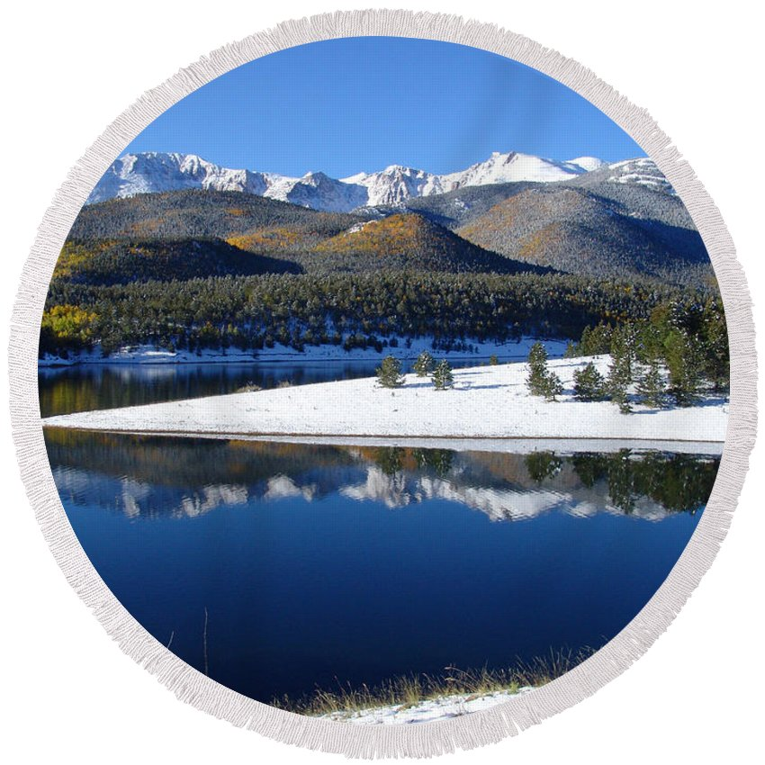 Landscape Round Beach Towel featuring the photograph Reflections Of Pikes Peak In Crystal Reservoir by Carol Milisen
