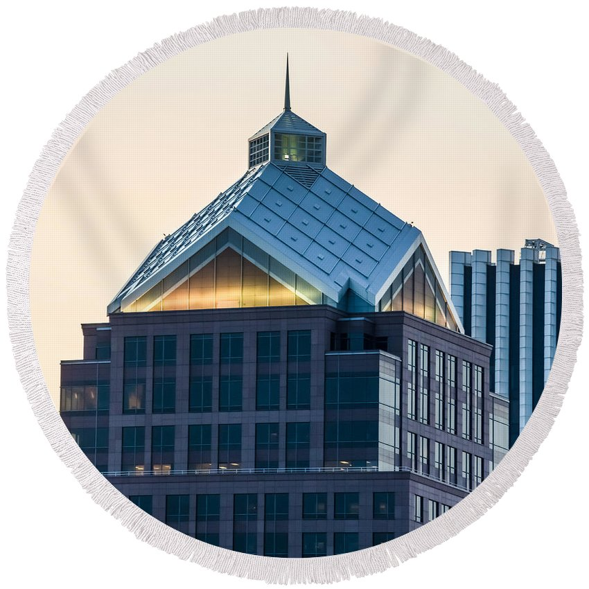 Ray Sheley Iii Round Beach Towel featuring the photograph Reflections On Legacy Tower by Ray Sheley