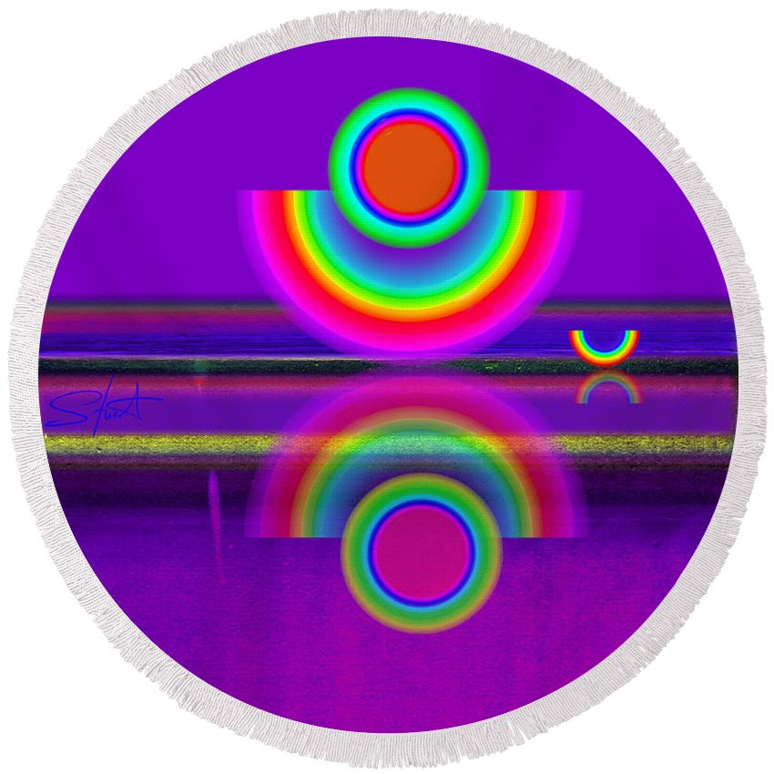 Reflections Round Beach Towel featuring the painting Reflections On Mauve by Charles Stuart