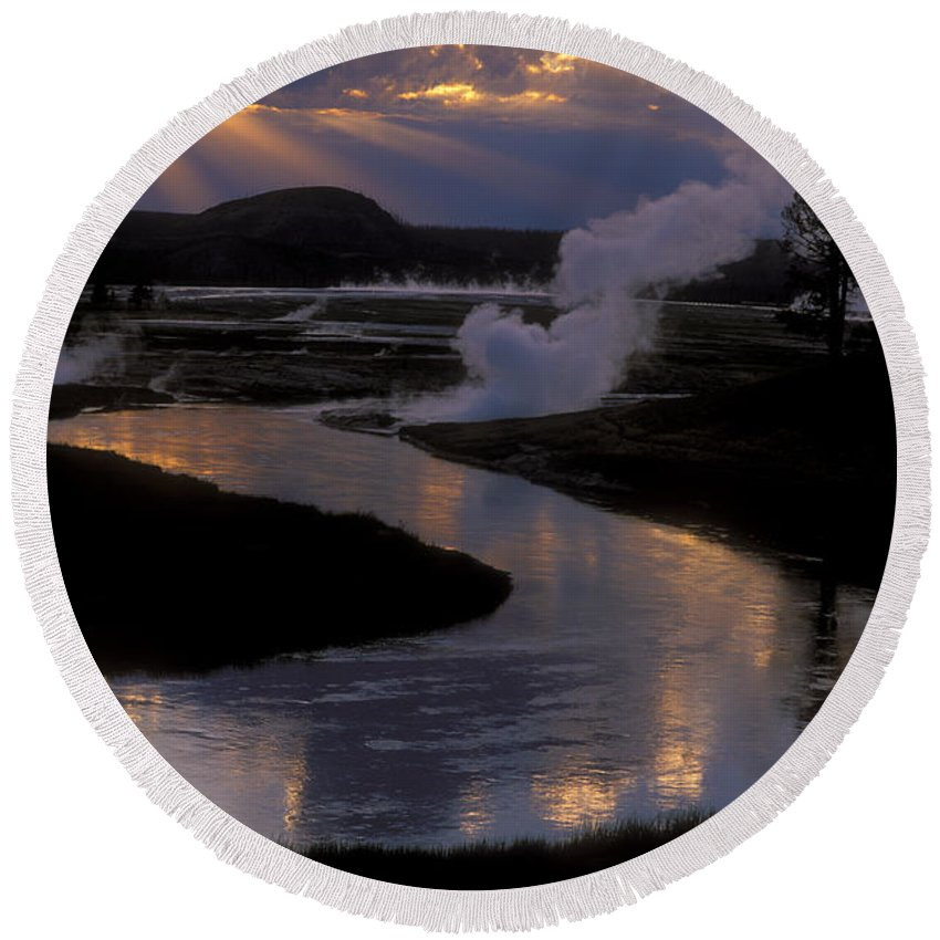 Yellowstone National Park Round Beach Towel featuring the photograph Reflections On The Firehole River by Sandra Bronstein