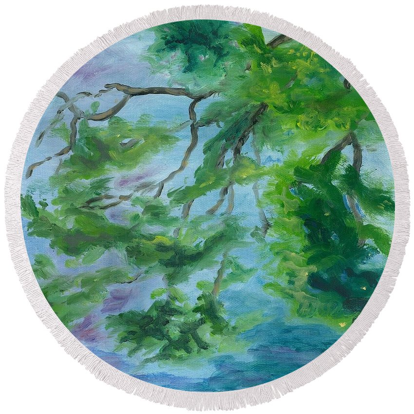 Reflections Round Beach Towel featuring the painting Reflections On The Mill Pond by Paula Emery