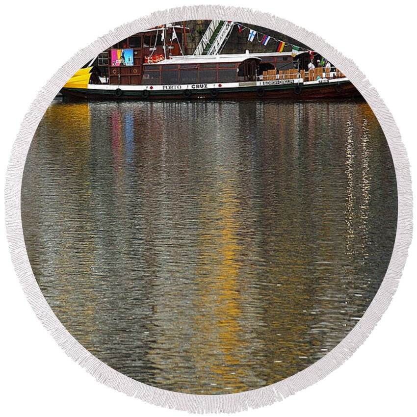 Reflection Round Beach Towel featuring the photograph Reflections On Water by Vladi Alon