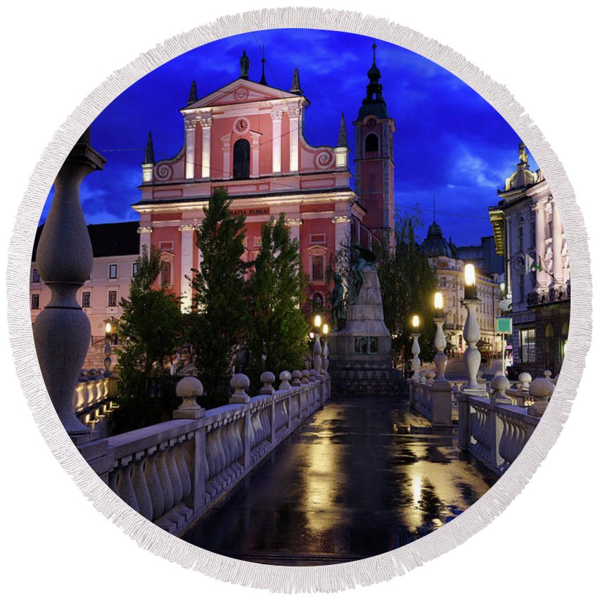 Reflections Round Beach Towel featuring the photograph Reflections On Wet Triple Bridge After Rain At Dawn With Lights by Reimar Gaertner