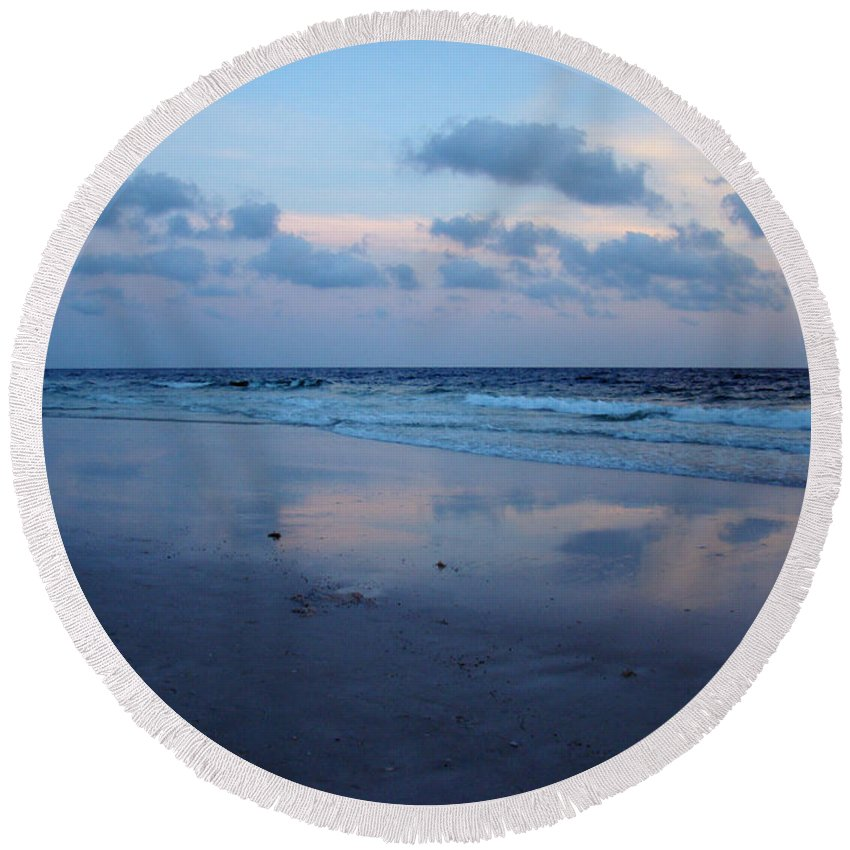 Panama City Beach Round Beach Towel featuring the photograph Reflections by Sandy Keeton