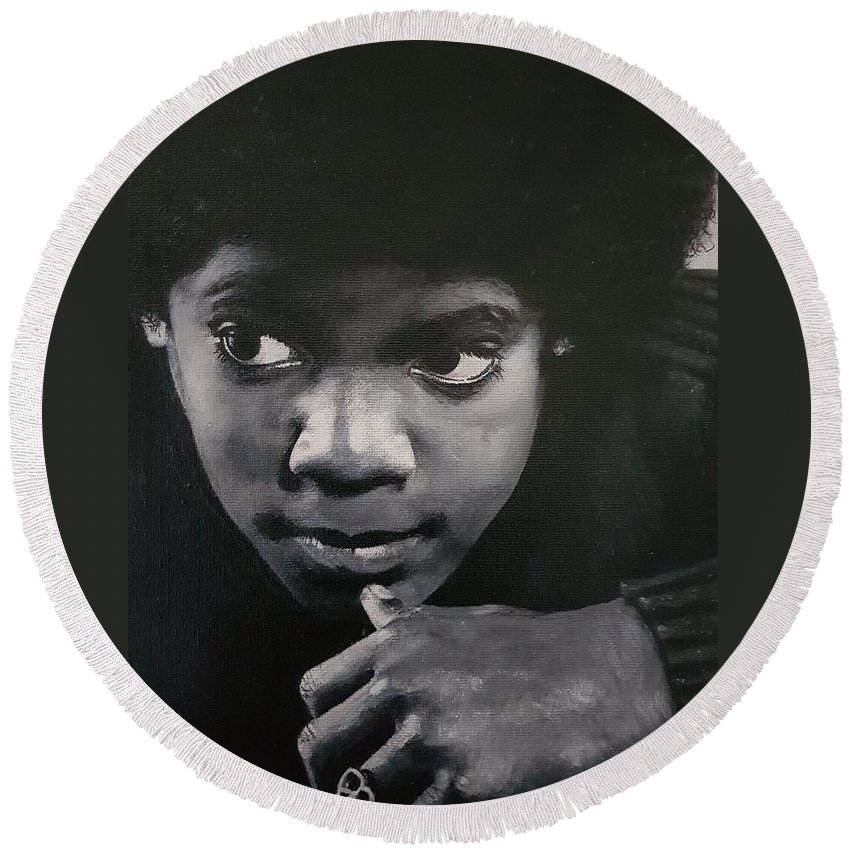 Michael Jackson Round Beach Towel featuring the painting Reflective Mood by Cassy Allsworth