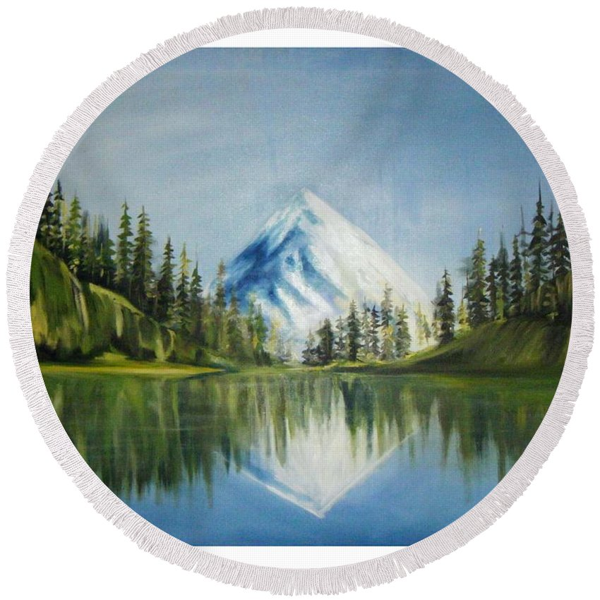 Oil Round Beach Towel featuring the painting Reflexion 2 by Olaoluwa Smith