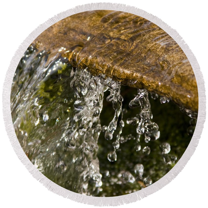 Water Stream Creek Drop Droplet Stone Run Nature Clear Cold Fall Round Beach Towel featuring the photograph Refreshment by Andrei Shliakhau