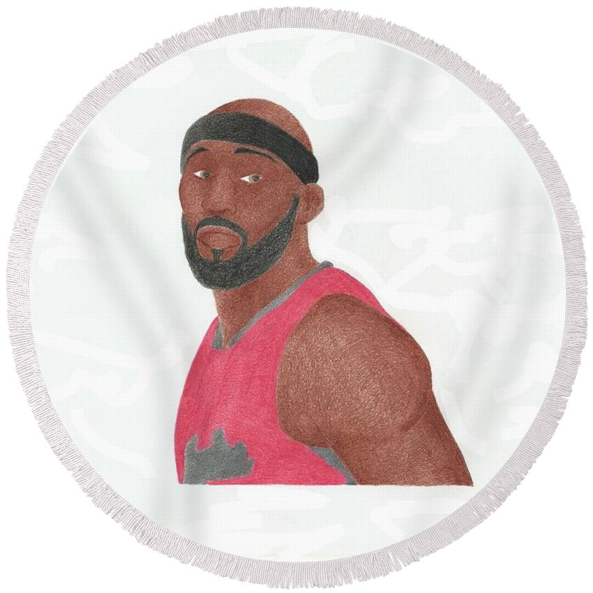 Basketball Round Beach Towel featuring the drawing Reggie Evans by Toni Jaso