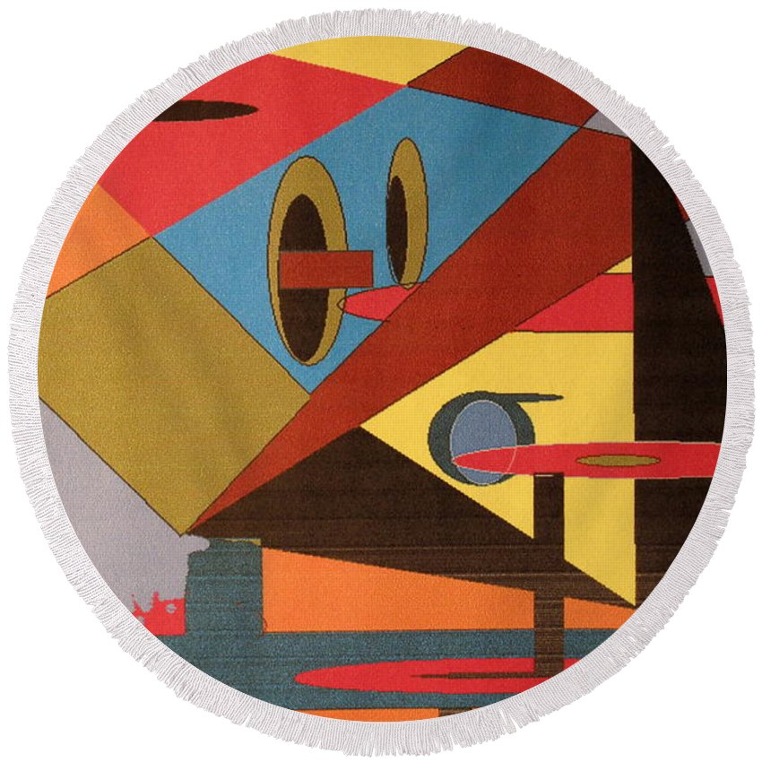 Abstract Round Beach Towel featuring the digital art Regret by Ian MacDonald