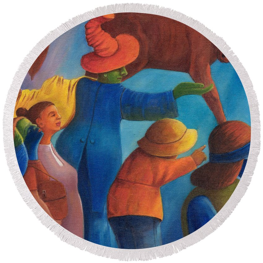 Painting Round Beach Towel featuring the painting Rejection. by Andrzej Pietal