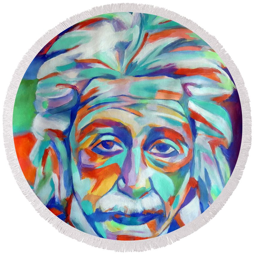 Abstract Portraiture Round Beach Towel featuring the painting Relativity by Helena Wierzbicki