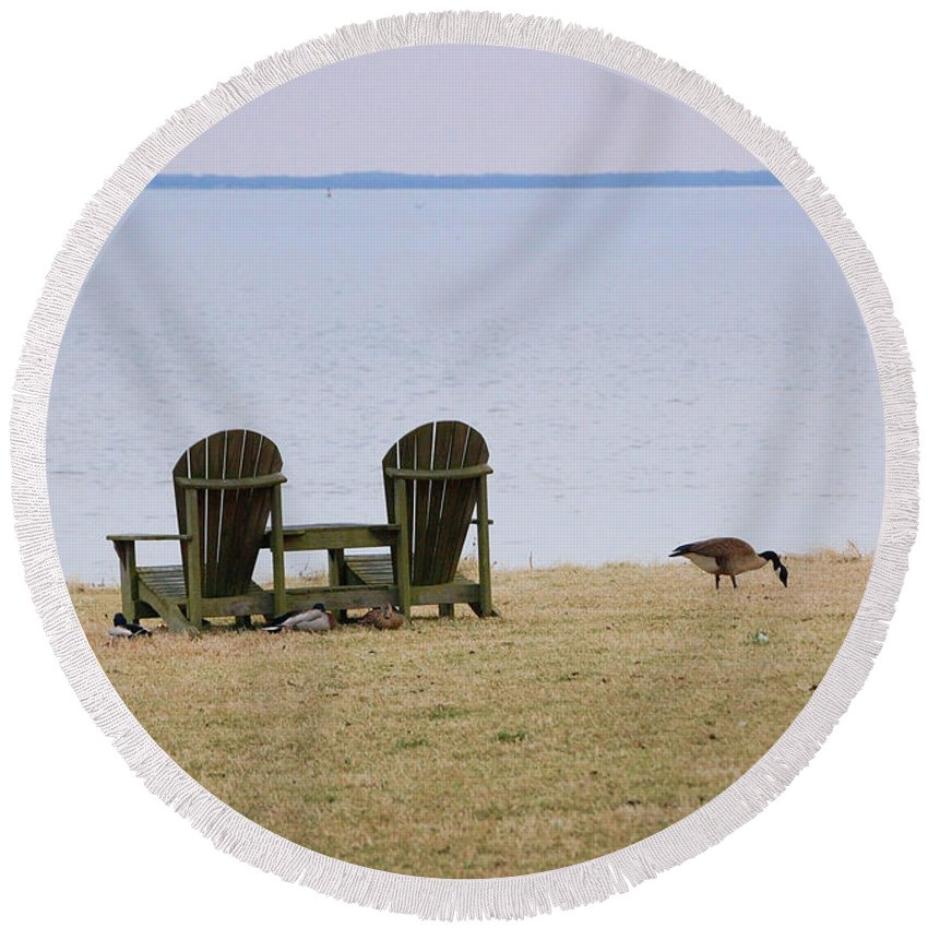 Chairs Round Beach Towel featuring the photograph Relax by Debbi Granruth