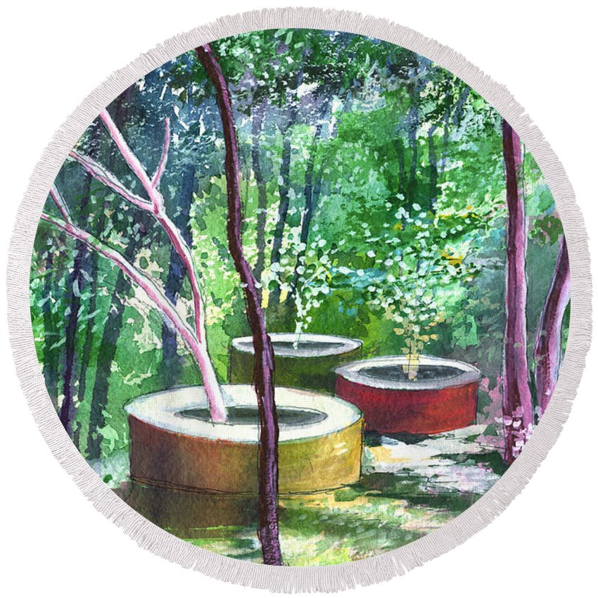 Opaque Landscape Round Beach Towel featuring the painting Relax Here by Anil Nene