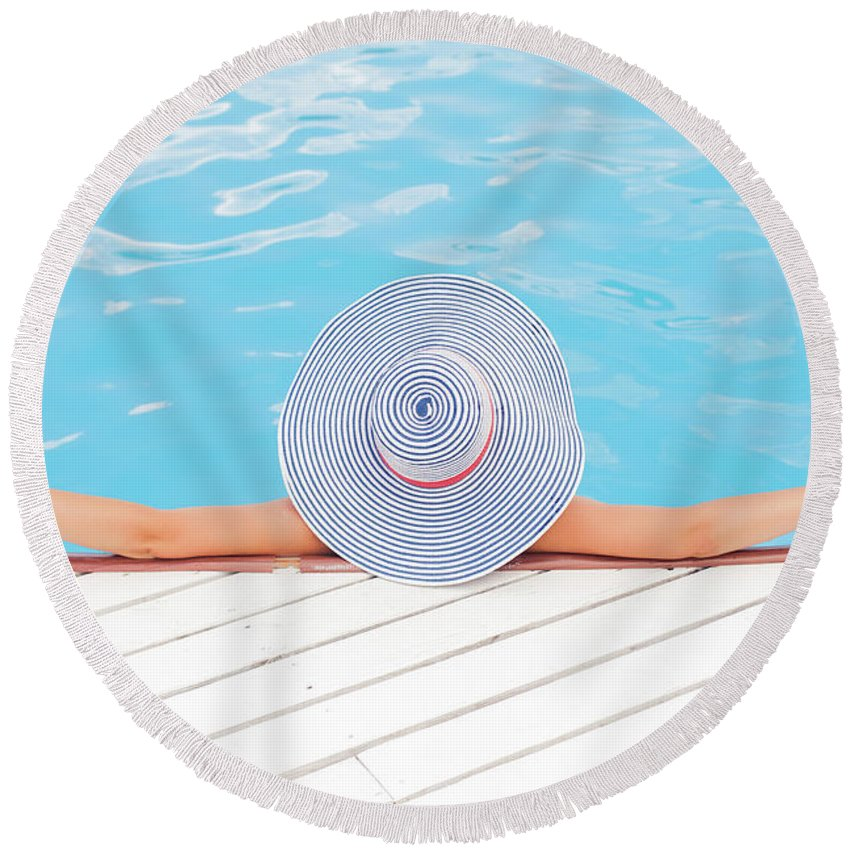 Pool Photographs Round Beach Towels