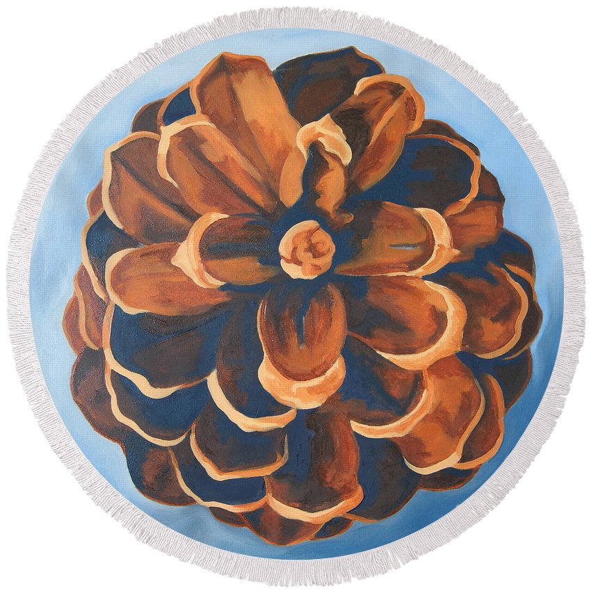 Pine Cone Round Beach Towel featuring the painting Released by Erin Fickert-Rowland