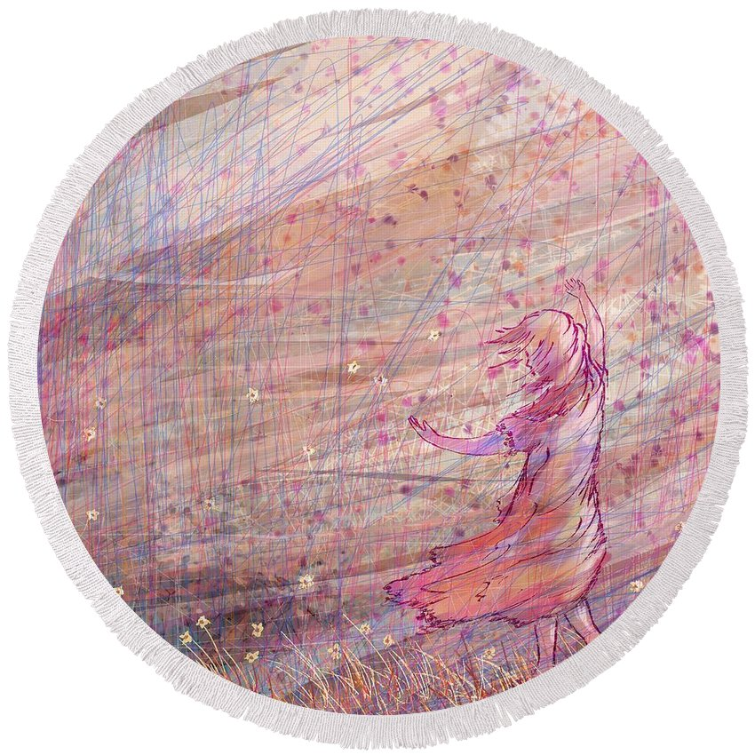 Abstract Round Beach Towel featuring the digital art Releasing The Daisies by William Russell Nowicki
