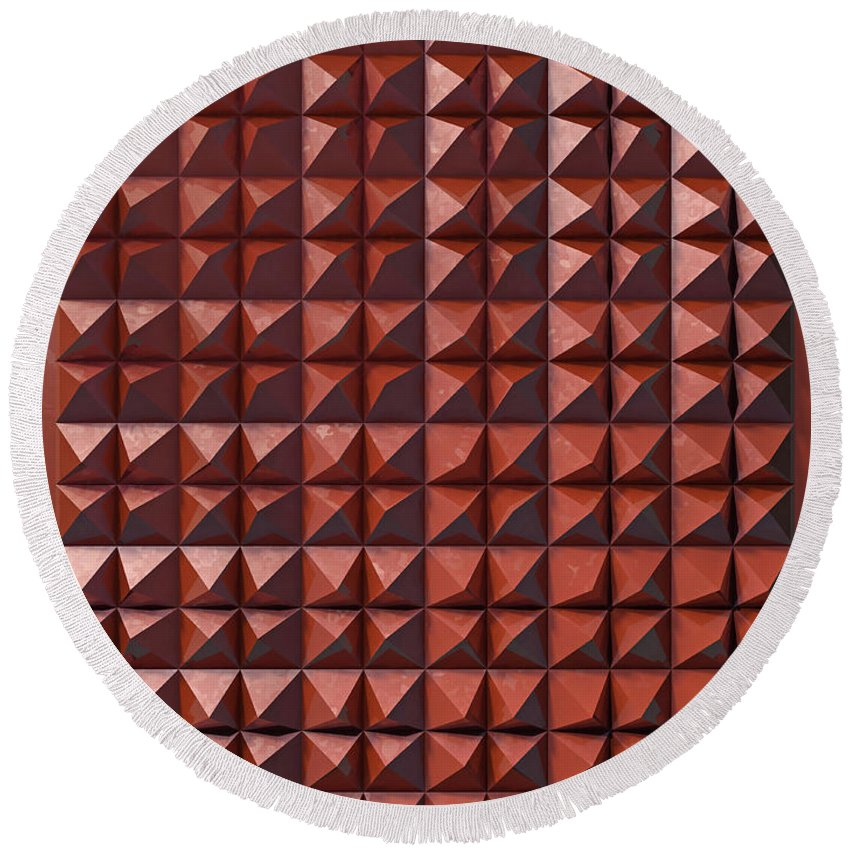 3d Round Beach Towel featuring the digital art Relief C2 Red Metallic by Frans Blok
