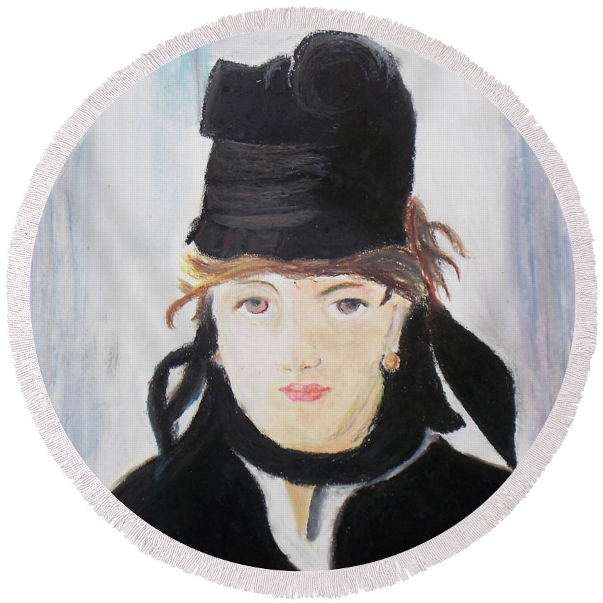 Copy Round Beach Towel featuring the pastel Remake Portrait Of Berthe Morisot by Keshava Shukla