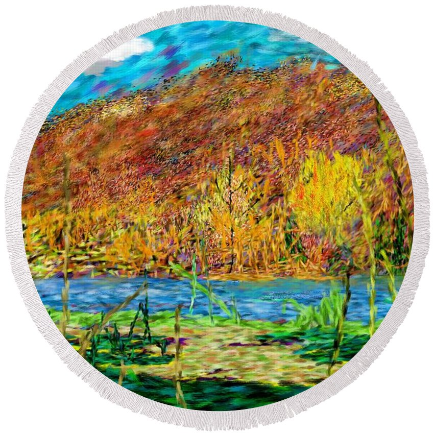 Landscape Round Beach Towel featuring the digital art Remembering Autumn by David Lane