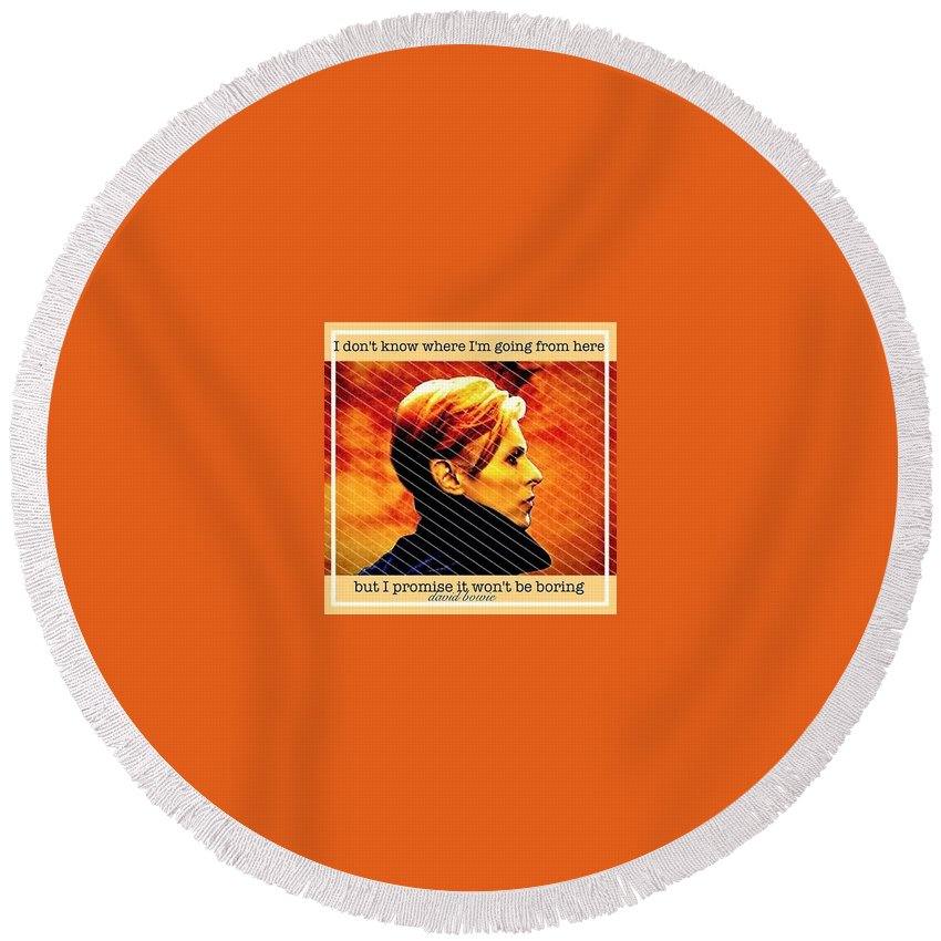 David Bowie Round Beach Towel featuring the photograph Remembering David Bowie by Laura Michelle Corbin