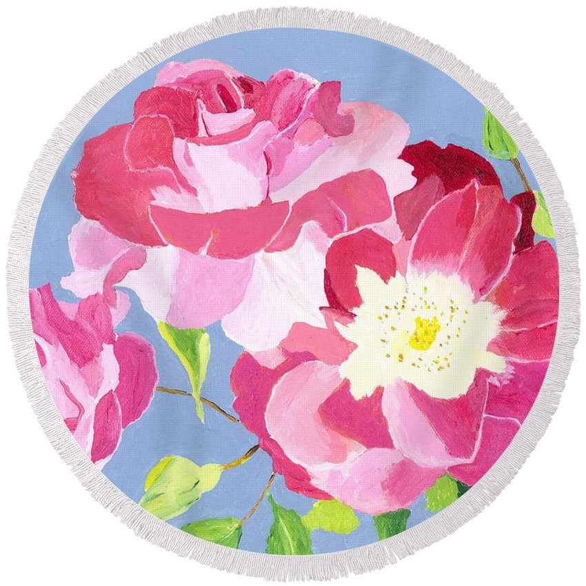 Roses Round Beach Towel featuring the painting Remembrance by Rodney Campbell