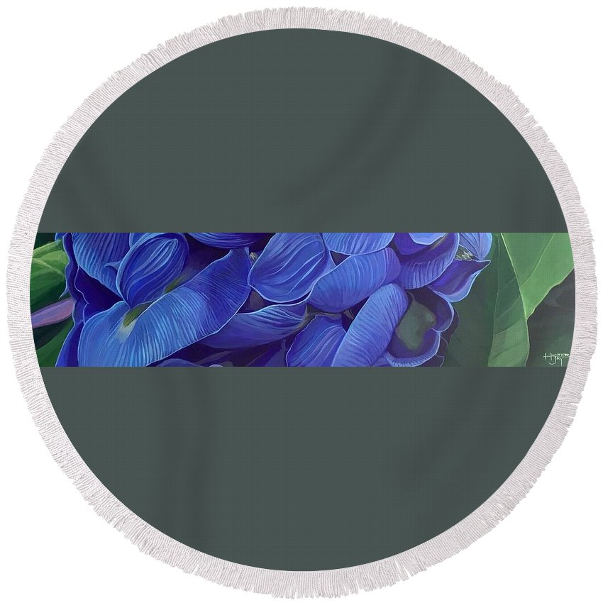 Botanical Round Beach Towel featuring the painting Render Love by Hunter Jay