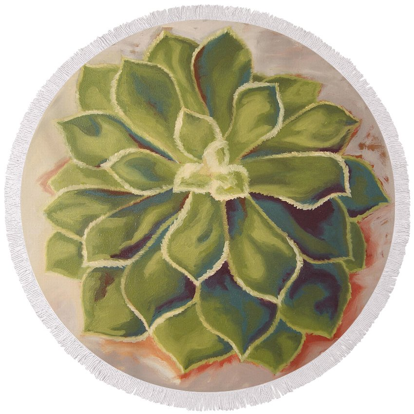 Succulent Round Beach Towel featuring the painting Renewed by Erin Fickert-Rowland