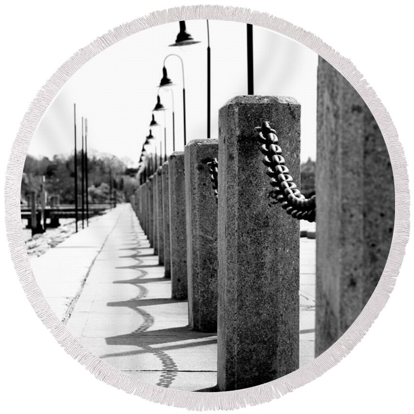 Posts Round Beach Towel featuring the photograph Repetition by Greg Fortier
