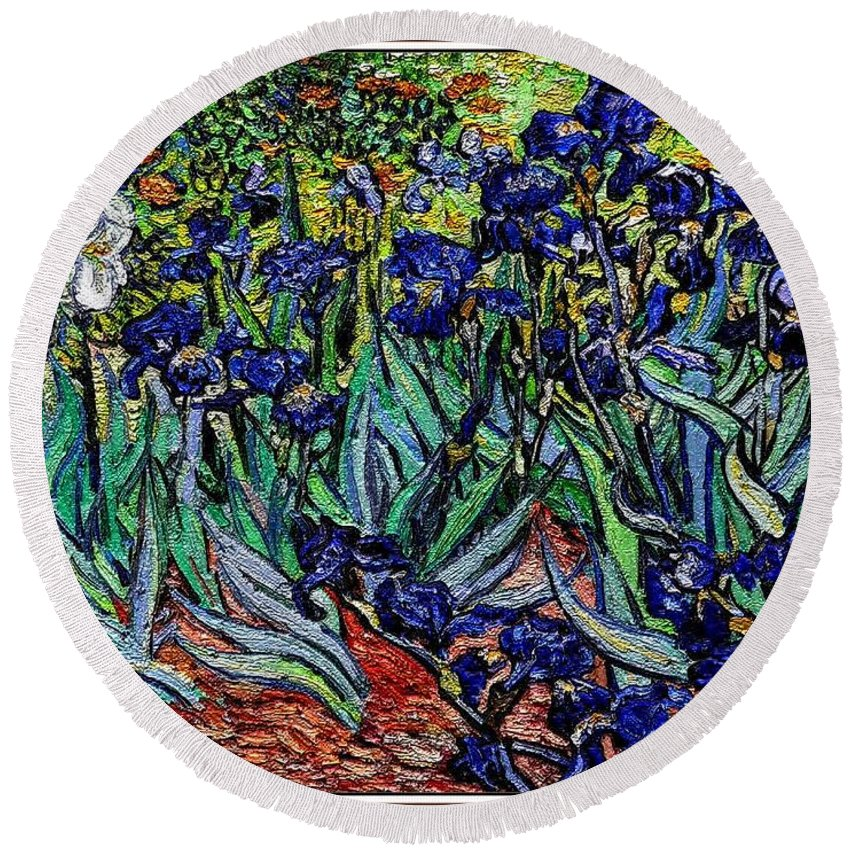 Still Life Round Beach Towel featuring the digital art replica of Van Gogh irises by Pemaro