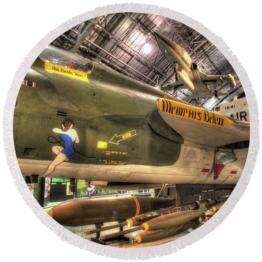 Dayton Round Beach Towel featuring the photograph Republic F-105 Thunderchief by Greg Hager