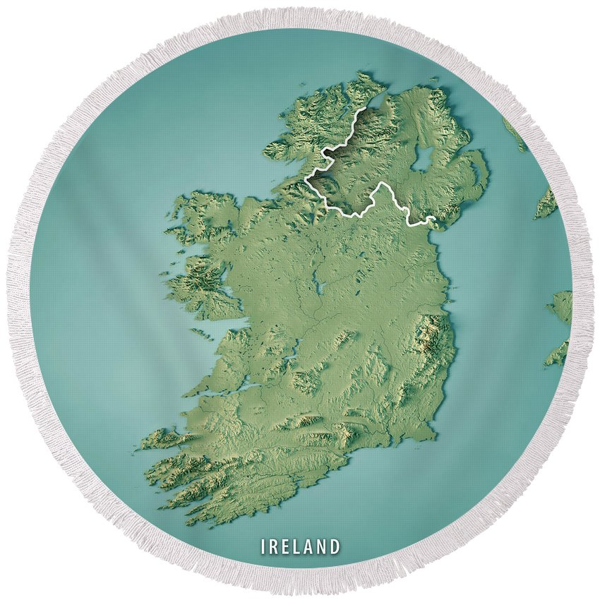 Map Of Ireland 3d.Republic Of Ireland Country 3d Render Topographic Map Border Round Beach Towel