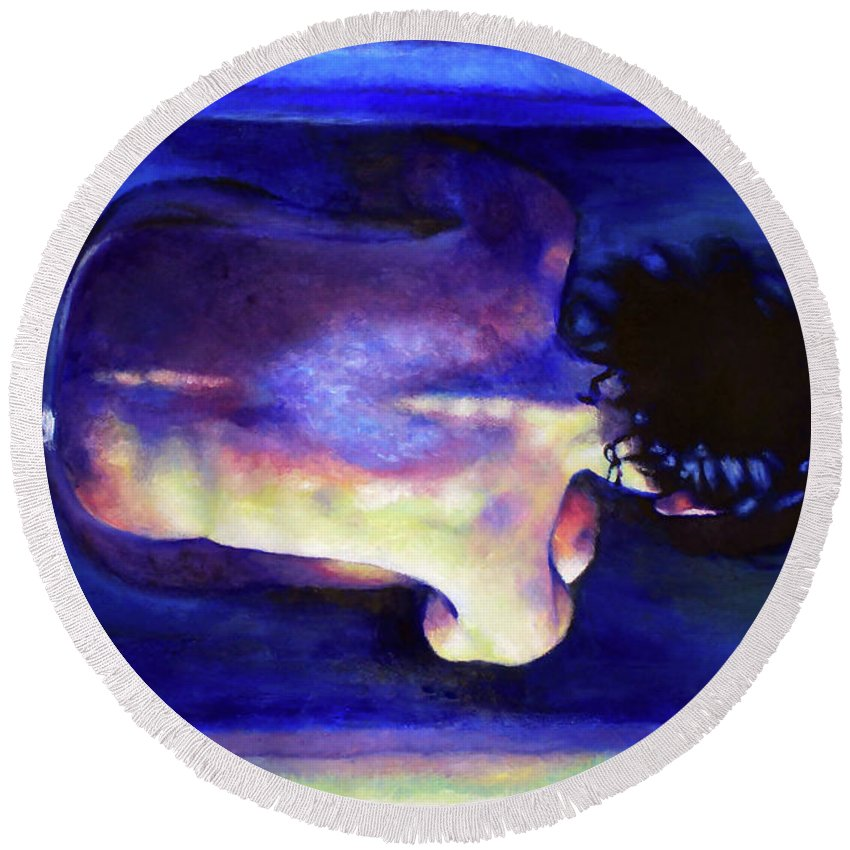 Oil Painting Round Beach Towel featuring the painting Requiem by Olesya Umantsiva