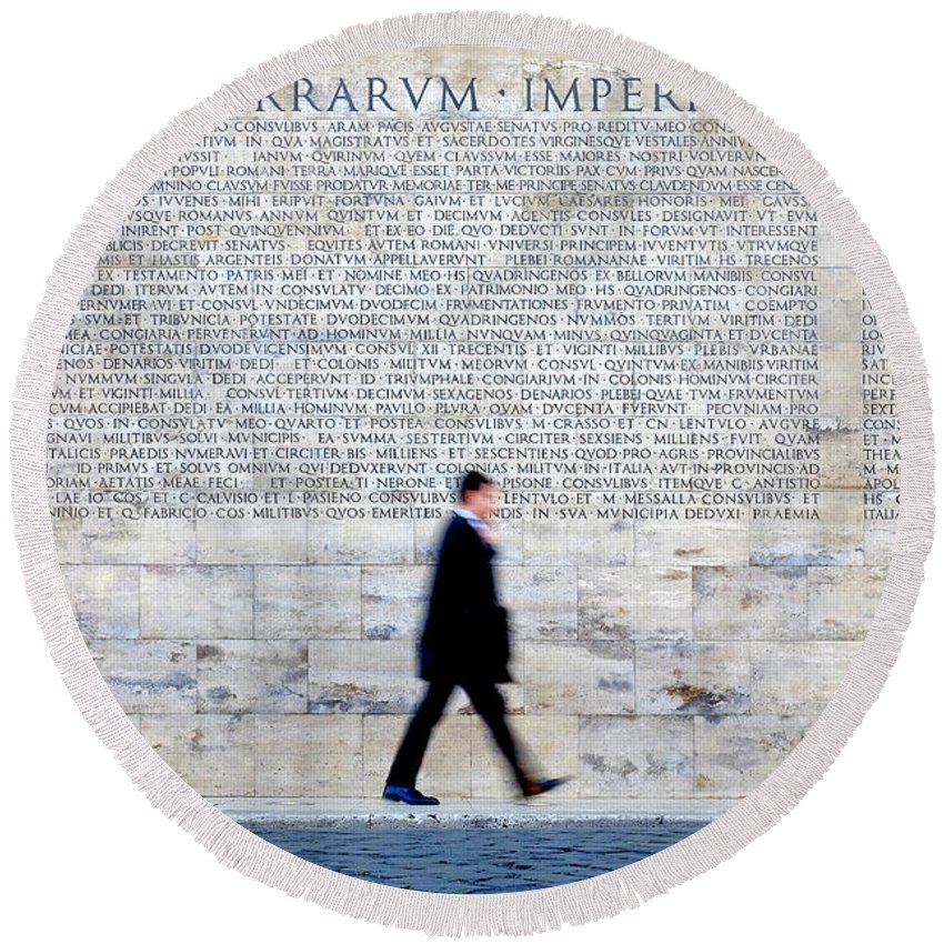 Museum Round Beach Towel featuring the photograph Res Gestae Divi Augusti by Fabrizio Troiani