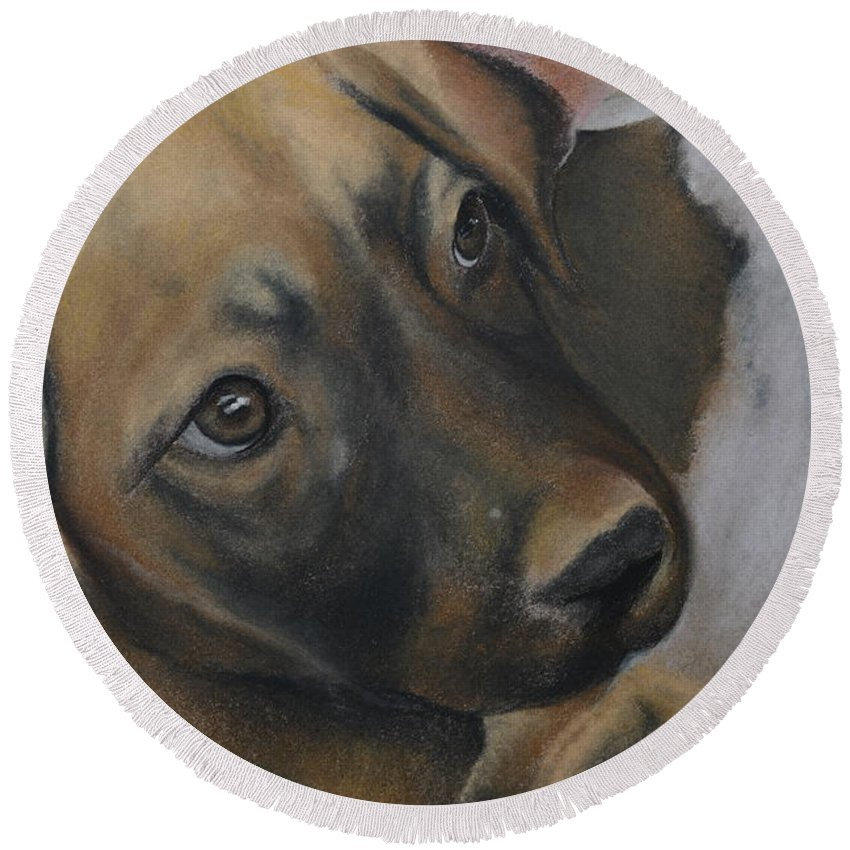 Dog Round Beach Towel featuring the painting Rescue Pup by Catt Kyriacou