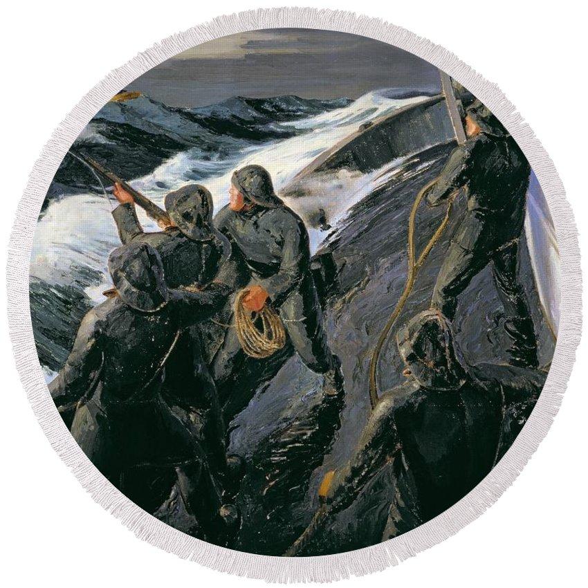Rescue - Firing A Costen Gun Line (oil On Canvas) By Thomas Harold Beament (1898-1985) Round Beach Towel featuring the painting Rescue by Thomas Harold Beament