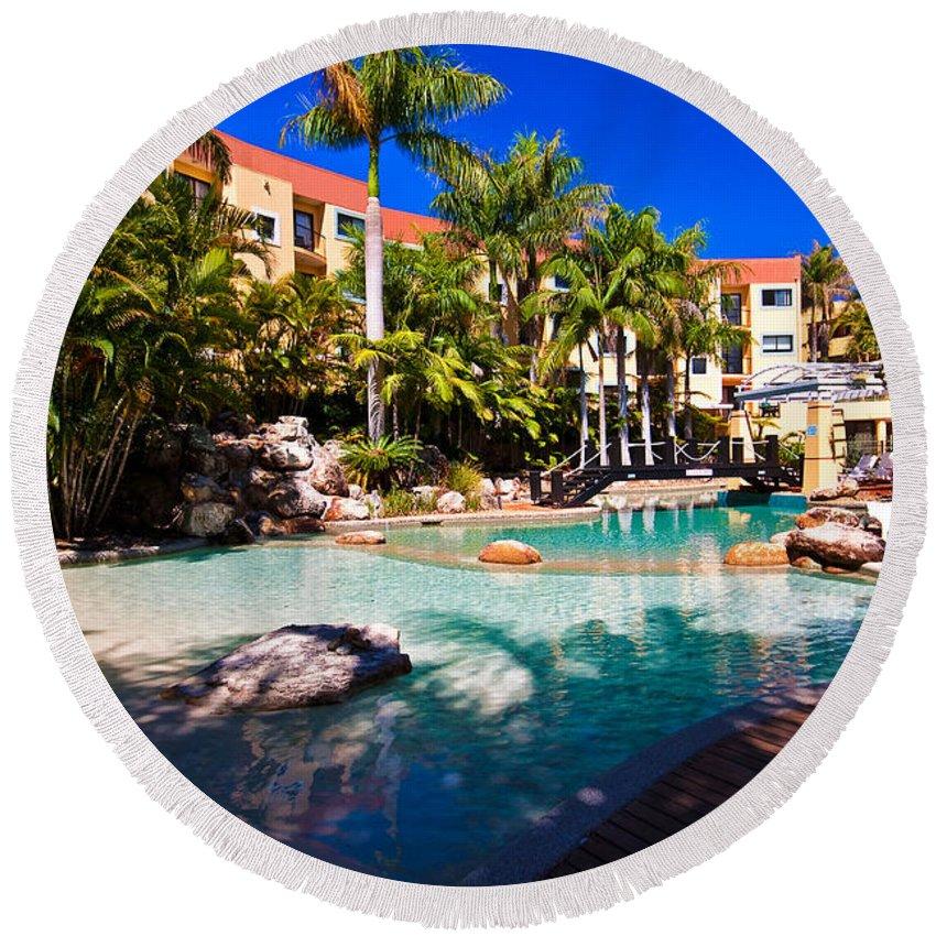 Resort Round Beach Towel featuring the photograph Resort Pool by Darren Burton