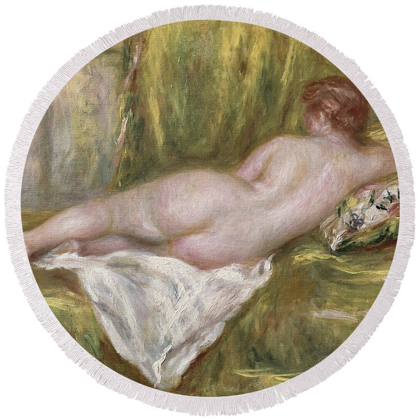 Renoir Round Beach Towel featuring the painting Rest After The Bath by Pierre Auguste Renoir