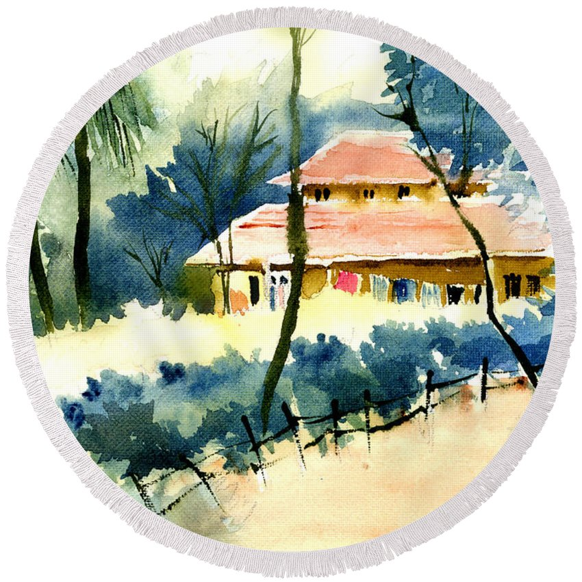 Landscape Round Beach Towel featuring the painting Rest House by Anil Nene